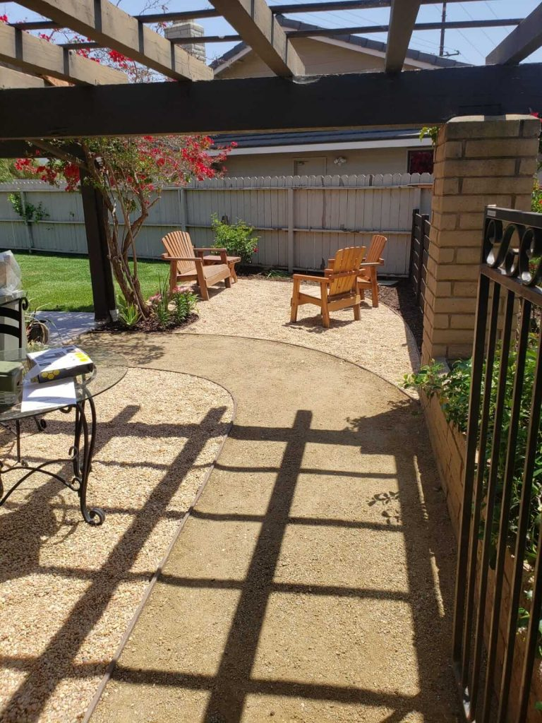 Decomposed Granite Path under Brown Pergola