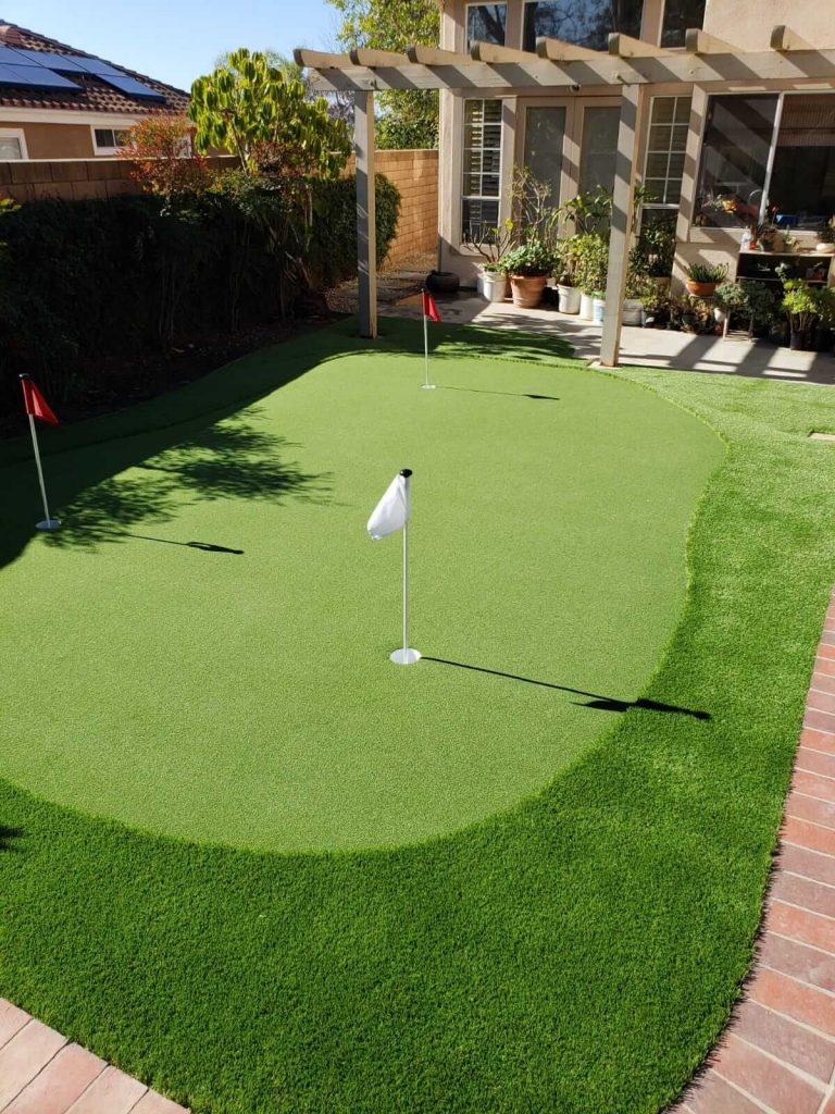 Landscape Remodel with Mini Golf Course on Artificial Turf