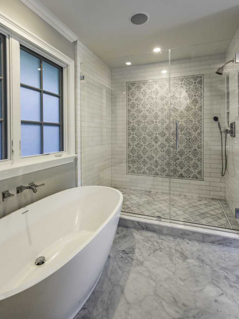 Bathroom Remodel with Standing Tub Frosted Brushed Nickel Fixtures