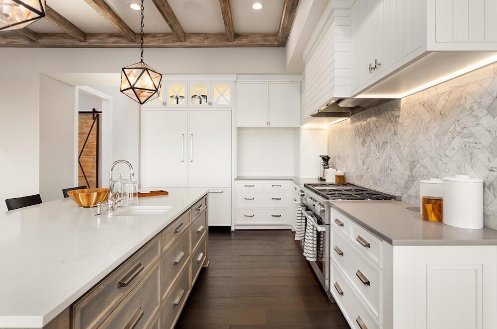white stone counter wood floor