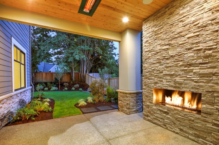 Landscape Remodel Backyard Fireplace Pebble Concrete 2