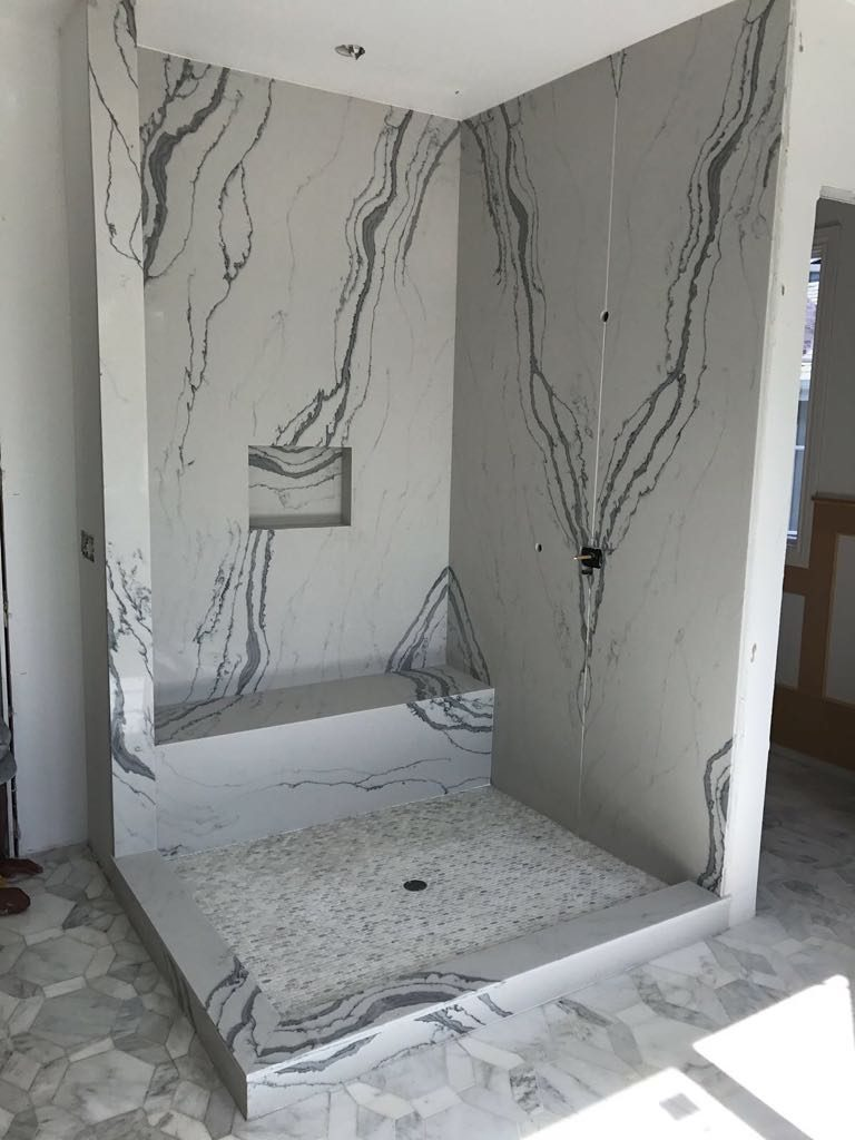 Shower and Tile Remodel Marble Patterned Walls
