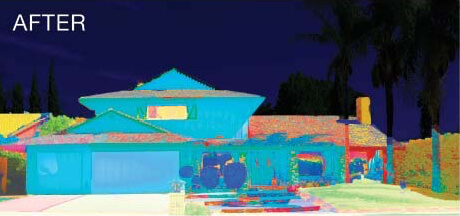 Heat Map Showing Cooler Walls on a House exterior after application of Cool Life on home