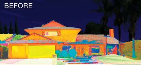 Heat Map Before Exterior Coating Job showing Red with Means House is Hot