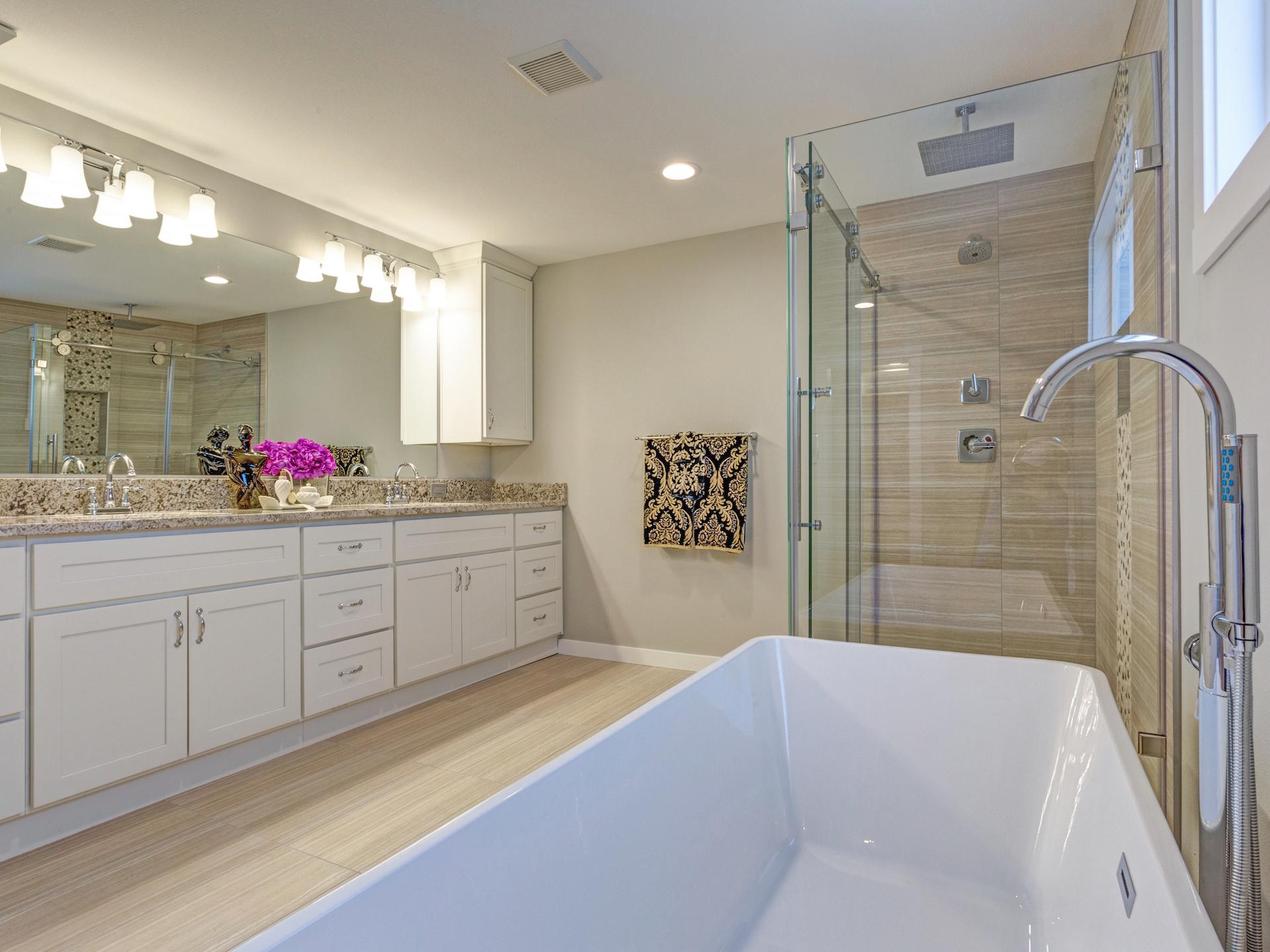 Bathroom Vanity Standing Tub Cabinet Mirror Frameless Shower