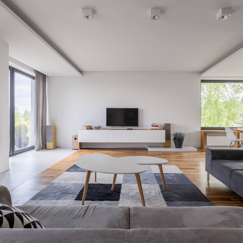 San Diego Granny Flat Construction. Flats interior view designed with large windows and white walls