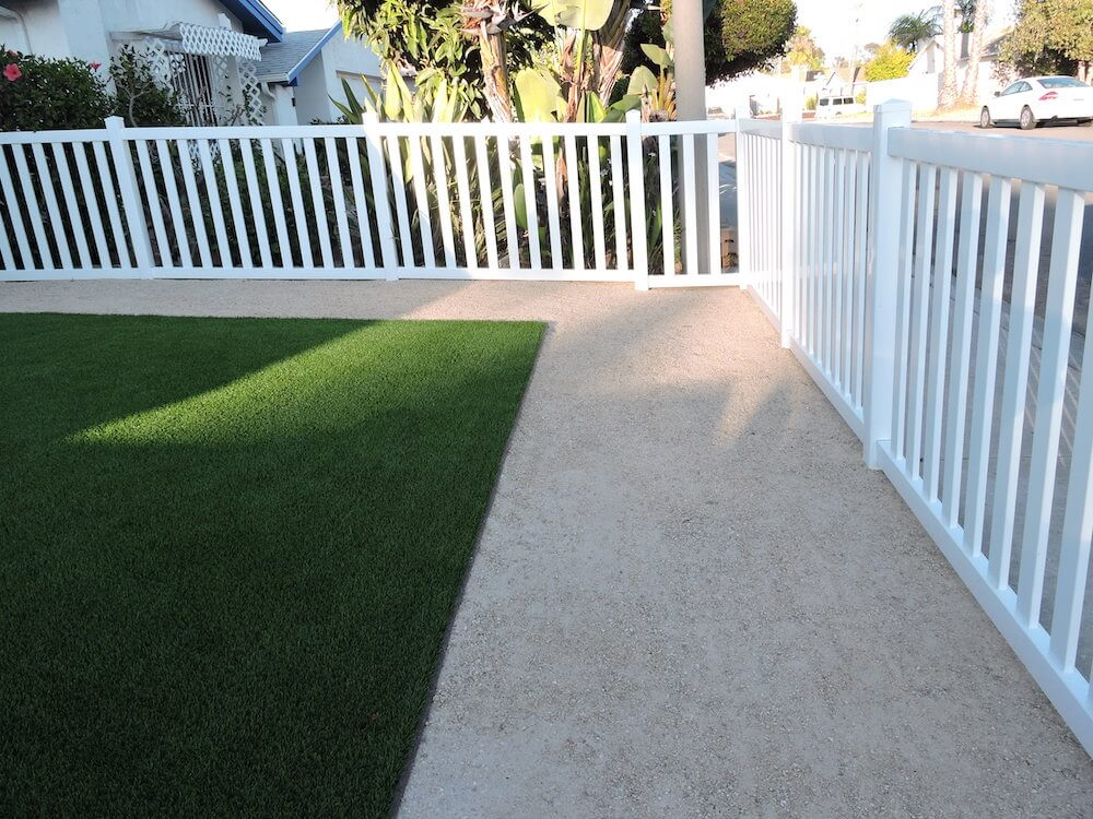 Landscape Design with Vinyl Fence, Decomposed Granite, Artificial Turf