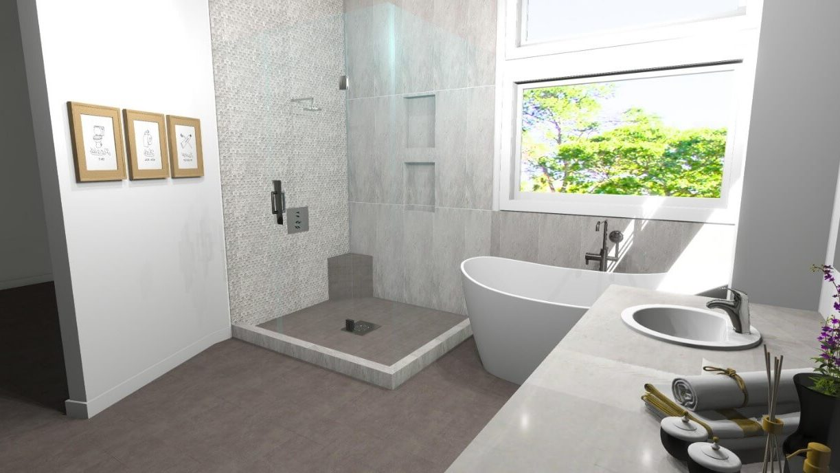 3D Bathroom Design with Standing Tub and Frameless Shower