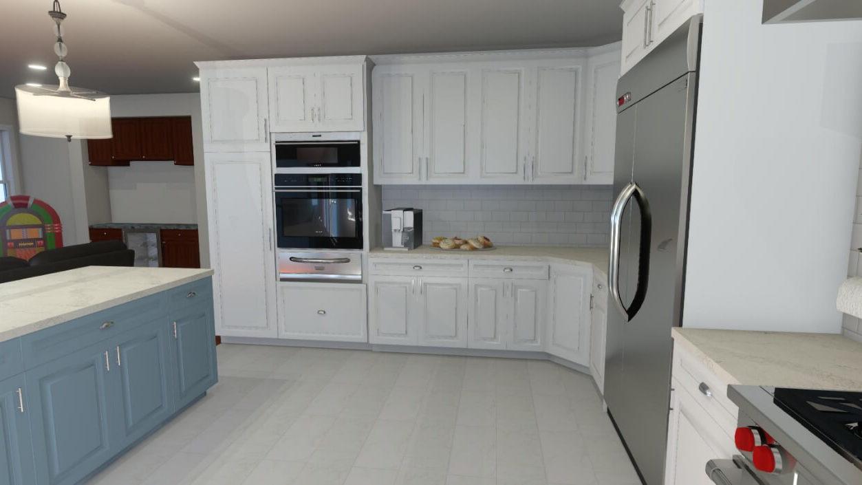 3D Kitchen Design with Blue Island