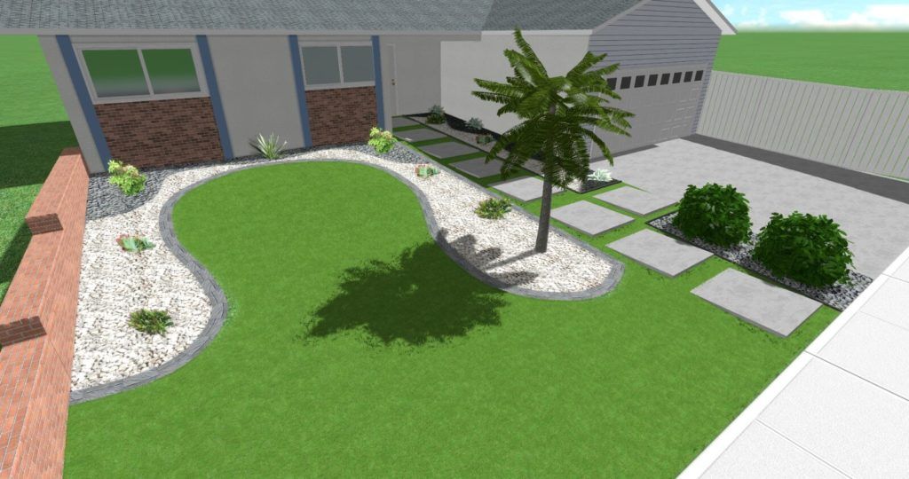 3d Design of a Front Yard in San Diego