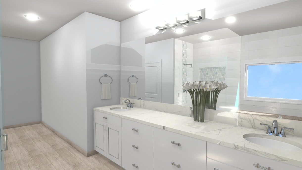Bathroom 3D Design in White and Brown Color Scheme
