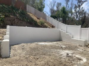 Cinder Block Retaining Wall with Finish