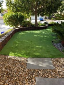 Keystone Wall Dividing Turf and Planter Area of Landscape